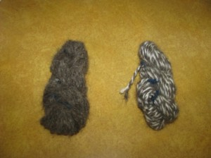 Pure Dog Hair Yarn and 50/50 Dog Hair/Wool Yarn